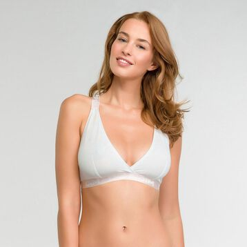 Pearly white triangle bra in cotton - Les Pockets, , DIM