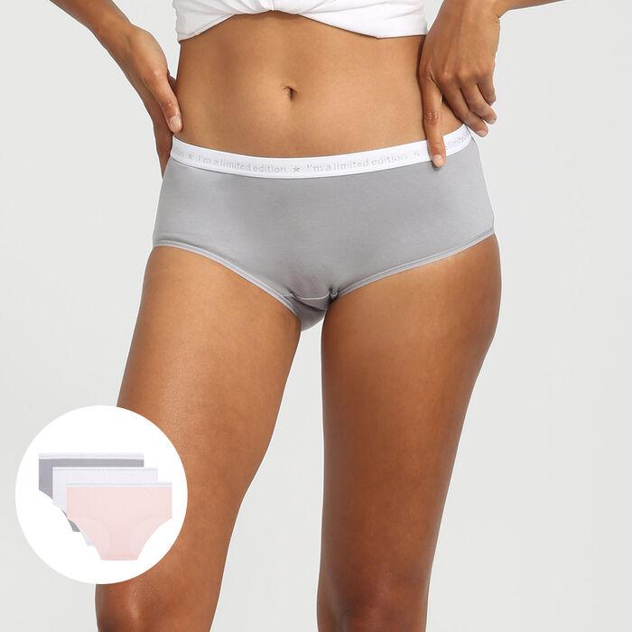 Lot de 3 boxers en coton rose/blanc/gris Les Pockets Edition Limitée, , DIM
