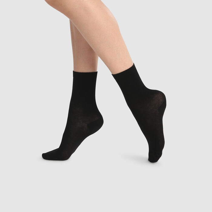 Green by Dim pack of 2 pairs of women's long lyocell socks Black, , DIM