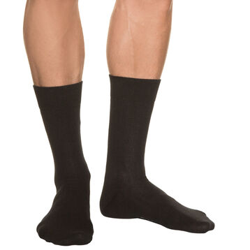 Black Pur Coton ribbed socks for men, , DIM