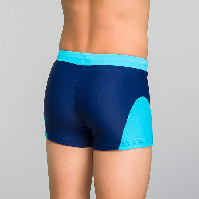 Blue swimming trunks for Boy - Bain Exotic, , DIM