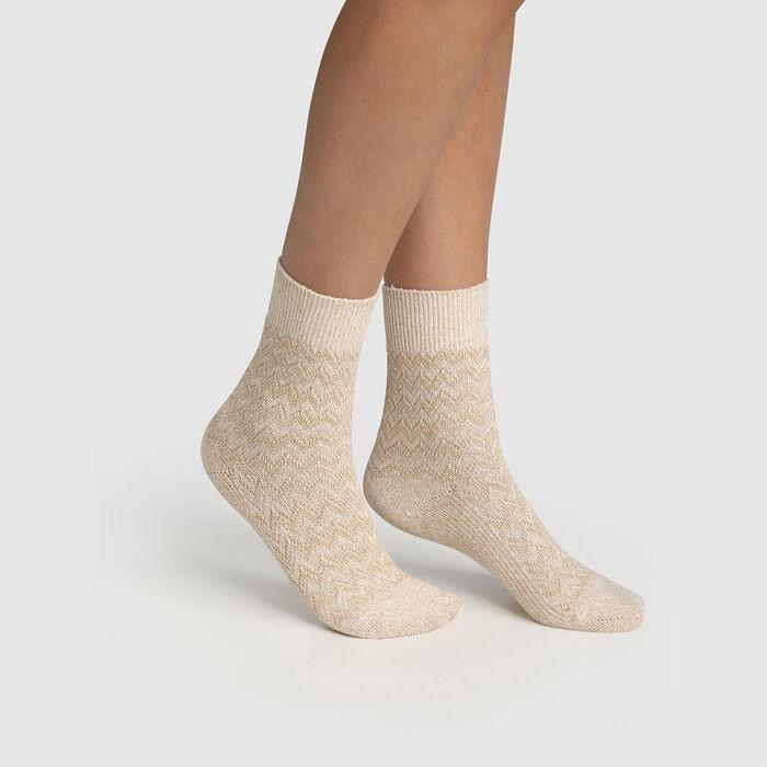 Women's cotton herringbone lurex mother-of-pearl sock Beige Made in France, , DIM