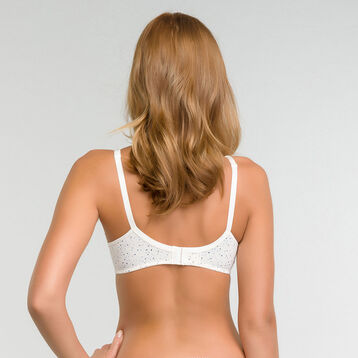 Pearly white full-cup bra with blue dots print - Dim Generous, , DIM