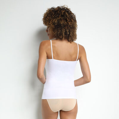 Pack of 2 Les Pockets Coton camisoles in white, , DIM