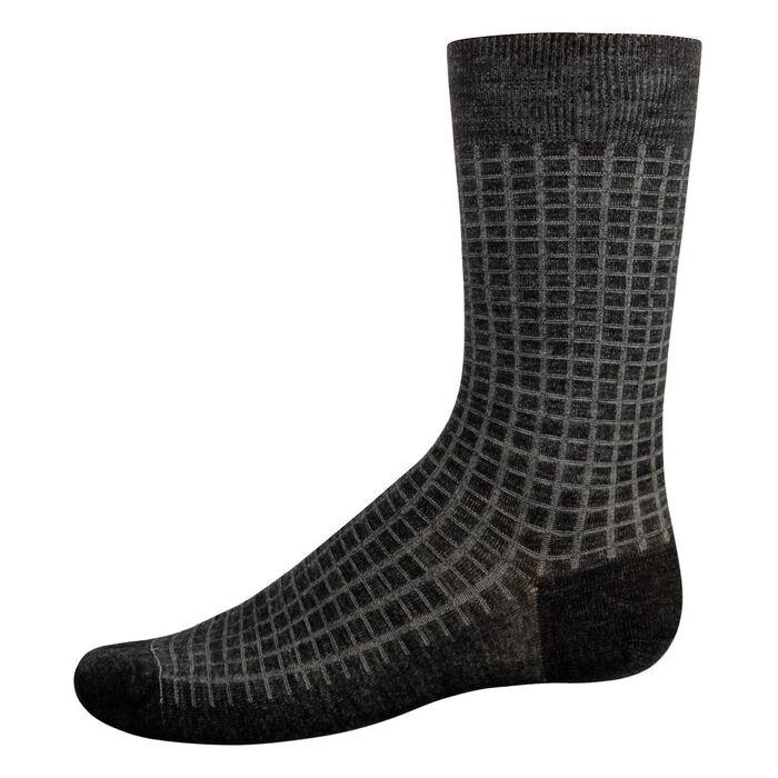 Men's wool calf socks in Dark Heather Grey and Jade Green, , DIM