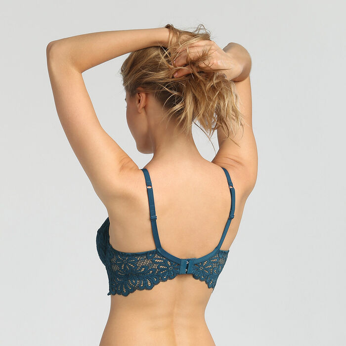 Underwired full-coverage lace bra in organic blue Daily Glam, , DIM