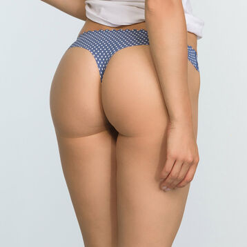 2 Pack Body Touch Microfiber Thongs in Blue Polka Dot and Pearl, , DIM