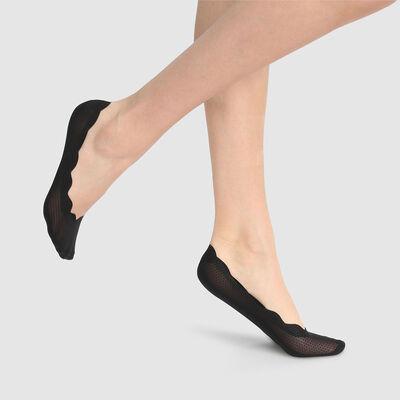 Dim InvisiFit black polka dot footies, , DIM