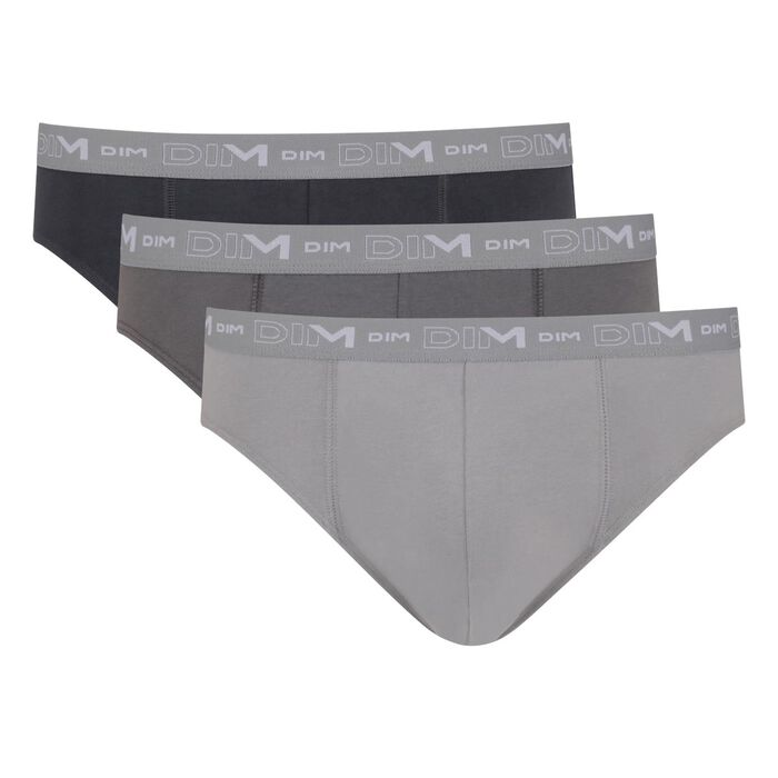 Pack of 2 men's cotton stretch briefs Steel Dark Grey Granite Grey Dim, , DIM