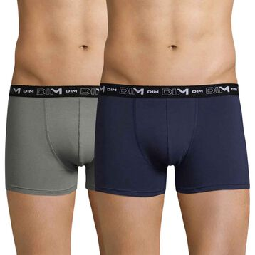 Set of 2 DIM Coton Stretch slate grey and midnight blue boxers - DIM