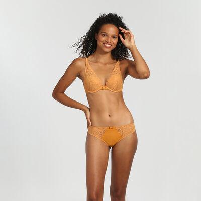 Dim Sublim Dentelle desert yellow push-up triangle bra, , DIM