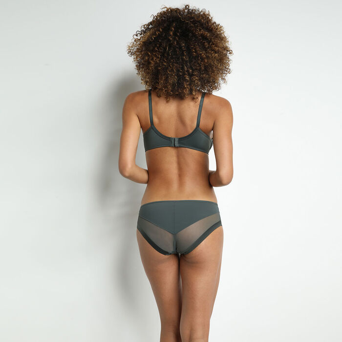 Generous Dim microfiber and tulle knickers in green-grey colour, , DIM