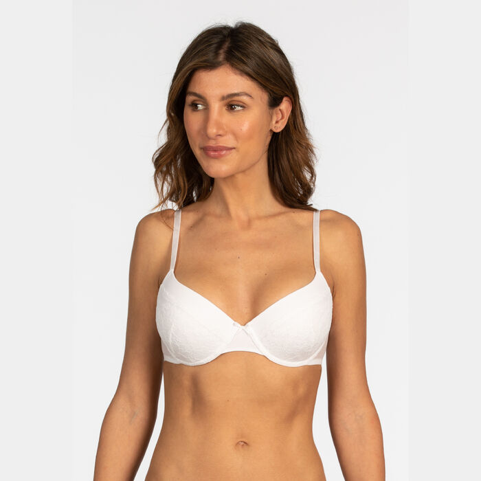 Underwired white bra Feminine line, , DIM