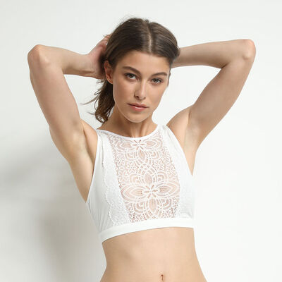 Jolie Madame open back bralette with mother-of-pearl lace, , DIM