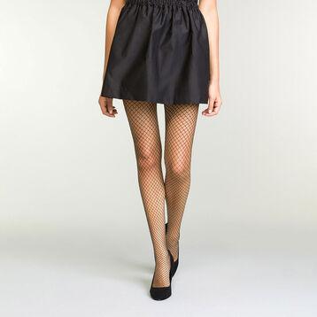 Women's fishnet tights in iridescent black and lurex, , DIM