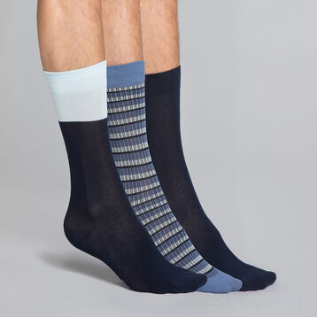 3-pack navy blue and ink blue men's socks - Coton style, , DIM