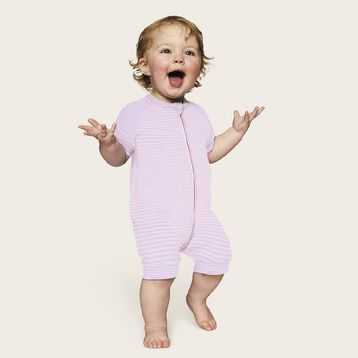 Zipped romper in cotton stretch with white and pink stripes Dim Baby, , DIM