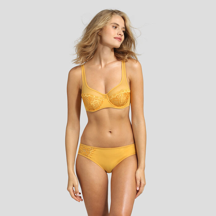 Golden yellow microfiber briefs Dim Generous Mod, , DIM