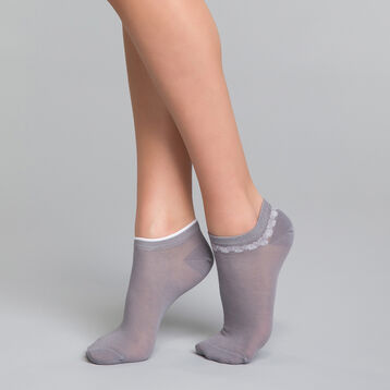 2 pack grey and printed ankle socks - Dim Coton Style, , DIM