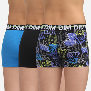 3 pack black and navy stretch cotton trunks Dim Boy Eco Dim 3D, , DIM