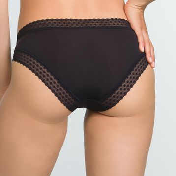 Women's Trendy Micro Microfiber and Lace Briefs in Black, , DIM