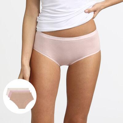 Комплект из 3 трусиков-боксеров телесного/розового/перламутрового цвета Les Pockets Coton, , DIM