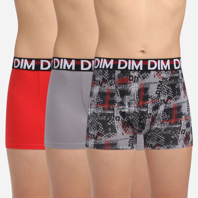 3 pack black fantasy print trunks Dim Boy Eco Dim 3D, , DIM