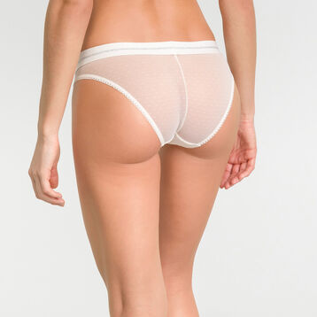 High-leg brief in pearly white lace - Dim Trendy Micro, , DIM
