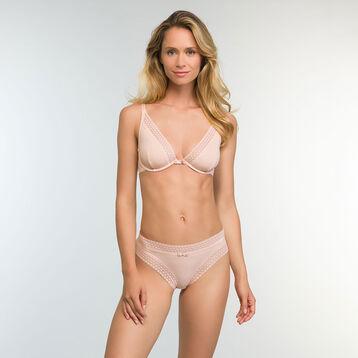 Trendy Micro Triangle Push up Bra in Nude Pink Microfiber, , DIM