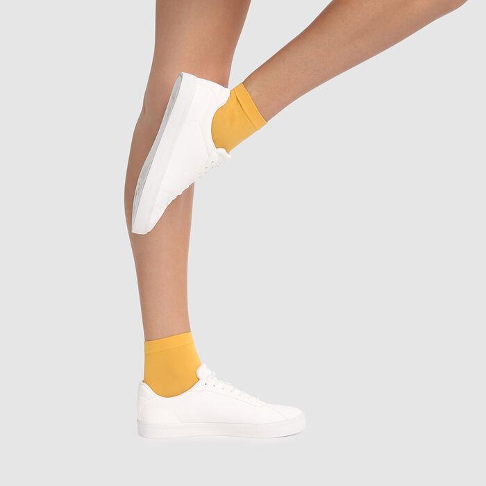 Dim Style 2 pack golden yellow opaque velvet socks 50D , , DIM