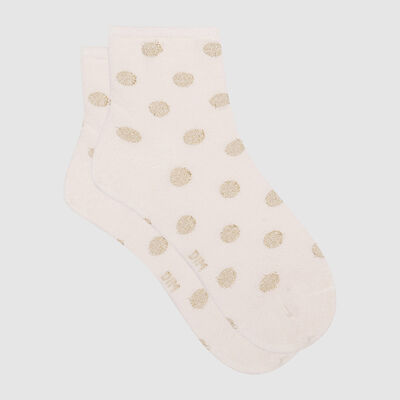 Cotton Style women's polka dot ankle socks in ivory cotton and gold lurex, , DIM