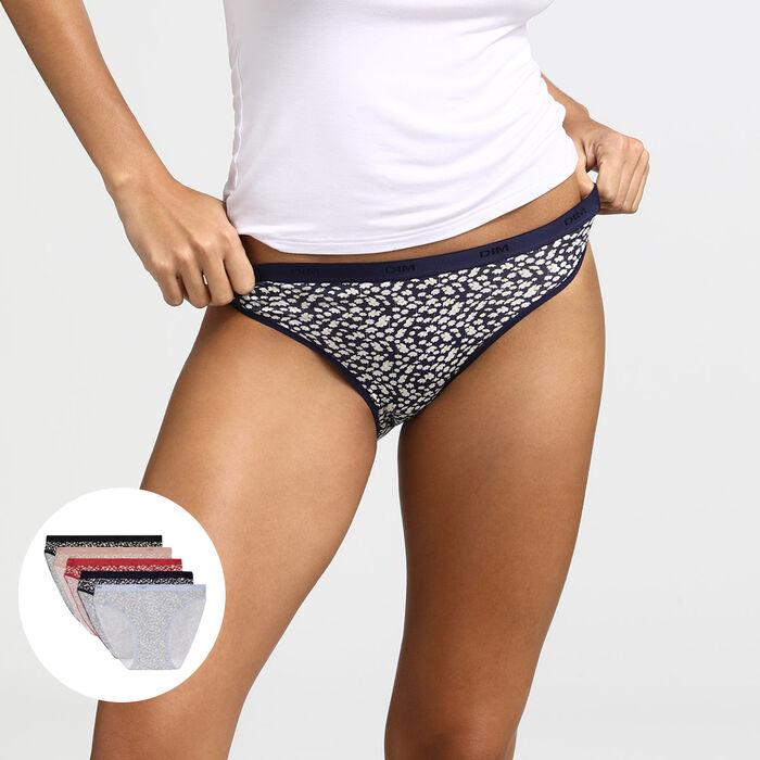 Les Pockets de Dim pack of 5 summer print cotton stretch knickers, , DIM