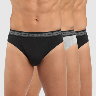 Green by Dim pack of 3 men's organic stretch cotton briefs in black and pearl grey, , DIM