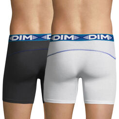 Lot de 2 boxers longs blanc et gris plomb 3D Flex Air-DIM