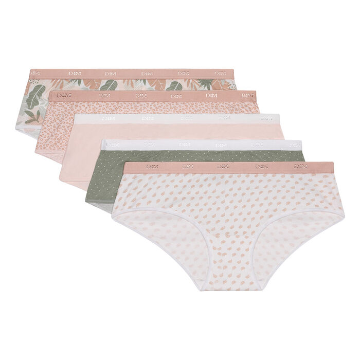 Les Pockets pack of 5 trunks  in pastel tropical print cotton stretch, , DIM