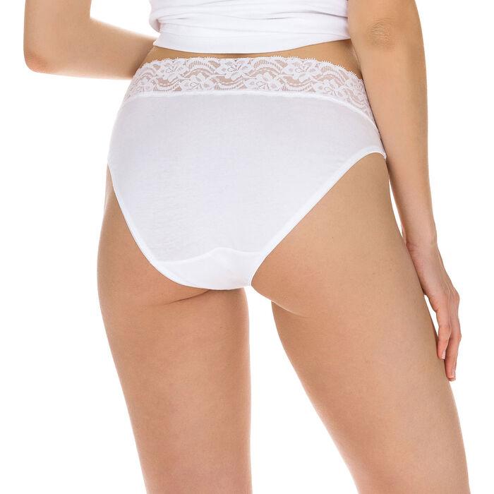 Lot de 2 slips blancs Coton Plus Féminine forme mini, , DIM