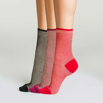 3 pack women's socks in cotton with striped lurex, , DIM