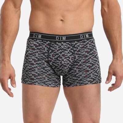 Dim Fancy Men's black boxer briefs in stretch cotton with Dim logo pattern, , DIM