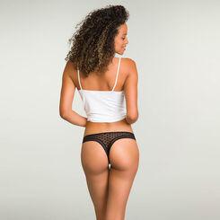 Black women's polka dot mesh thong Dotty Mesh Panty Box, , DIM