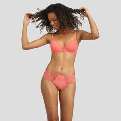 Lace coral pink push-up balconette bra Dim Sublim, , DIM