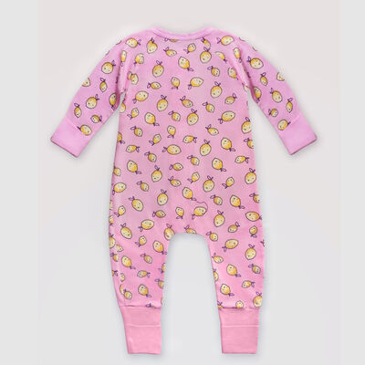 Dim Baby Pink cotton stretch baby pyjama with zipper, lemon print, , DIM