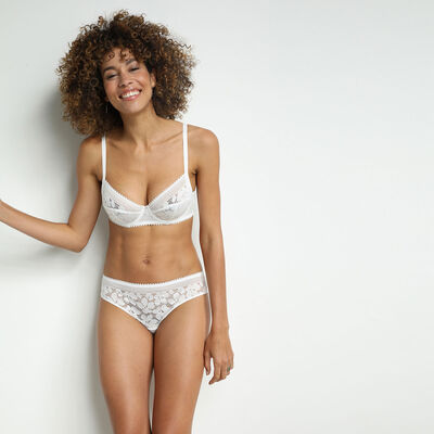 White Daily Glam Floral Lace Full Cup Bra, , DIM