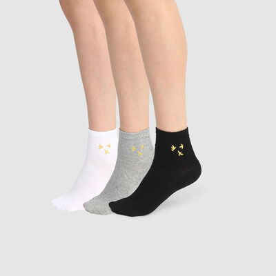 Cotton Style pack of 3 pairs of women's lurex ankle socks with bird print White Black Grey, , DIM