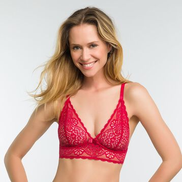 Lace imperial red non-wired bra - Dim Sublim, , DIM