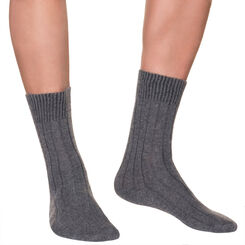 Charcoal mid calf socks in wool and cashmere for men, , DIM