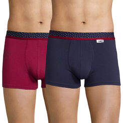 Lot de 2 boxers rouge cerise et bleu cobalt - Mix and Dots, , DIM