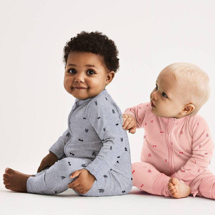 Pijama con cremallera gris con estampado indio, , DIM