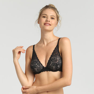 Dim Sublim Dentelle black wireless triangle bra, , DIM