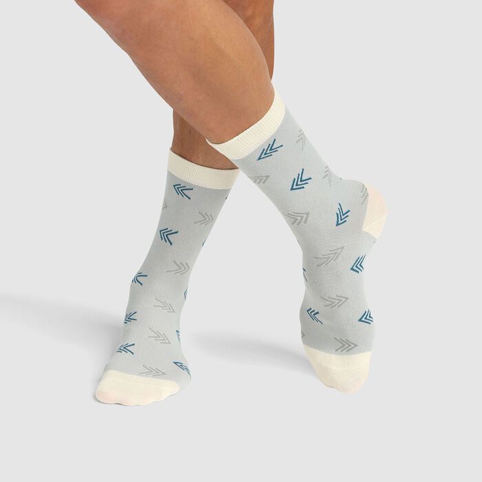 Mixed combed cotton socks with blue arrows print Color Sox, , DIM