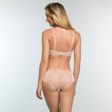 Non-wired Triangle Bra in Nude Pink Lace Mod by Dim, , DIM
